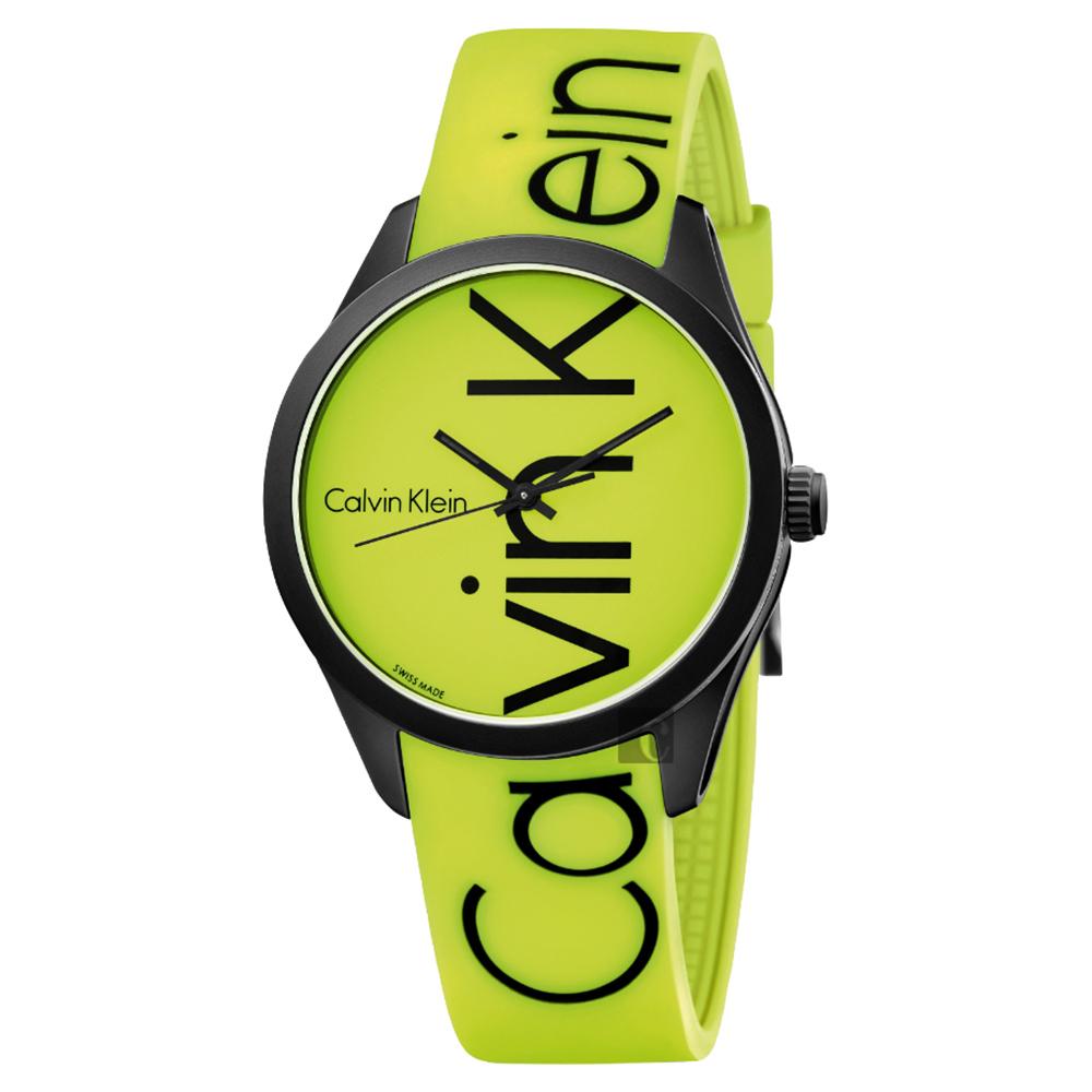 Calvin Klein CK Color 時尚運動錶-螢光黃/40mm