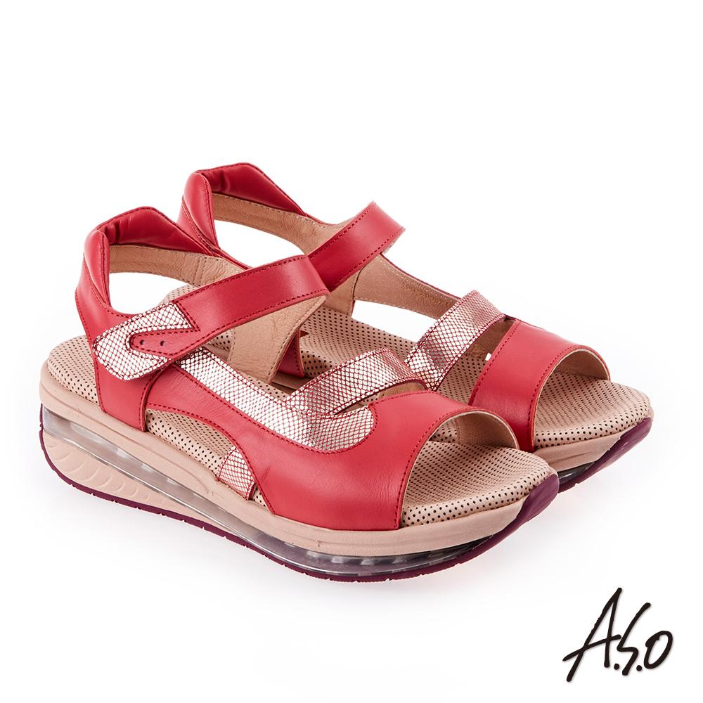 A.S.O 超能力 金箔亮麗拼接皮革輕量奈米鞋墊休閒涼鞋 桃粉紅