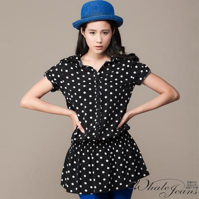 WHALE JEANS 韓式點點普普風修身小傘狀長版襯衫式洋裝(2色)