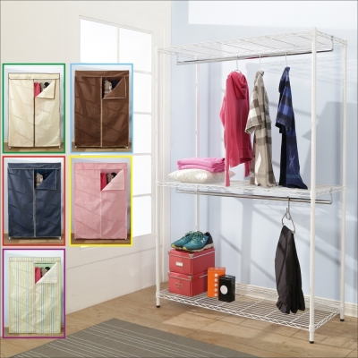 BuyJM鐵力士白烤漆強固型三層雙桿衣櫥附布套(90x45x180CM)-DIY