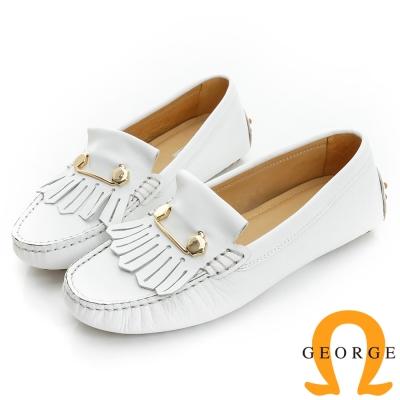 GEORGE 喬治-舒適系列 縫線包仔鞋 牛皮流蘇鉚釘休閒鞋(女)-白色