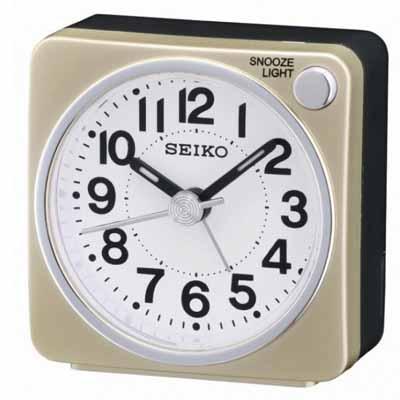 SEIKO 精工 嗶嗶聲 靜音 貪睡鬧鐘(QHE118G)-金/5.8X5.7cm