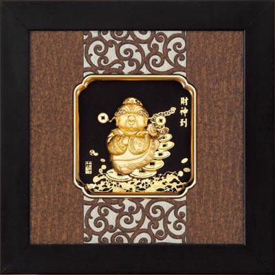 開運陶源 金箔畫 純金 *小古典中國風系列*Q版【財神到】...24x24cm