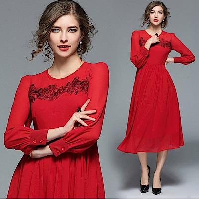 ABELLA 艾貝拉 透視紅紗立體緹花圓領雪紡擺裙洋裝(S-2XL)