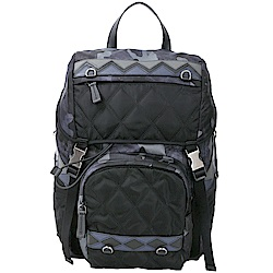 PRADA Saffiano 菱格絎縫拼接迷彩尼龍後背包(黑藍色)