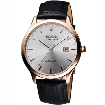 epos 原創系列超薄自動機械腕錶-銀x玫瑰金框/40mm