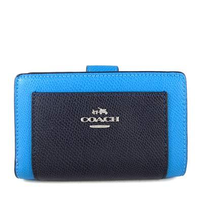 COACH-銀馬車Logo雙色皮革壓扣式中夾-蔚藍