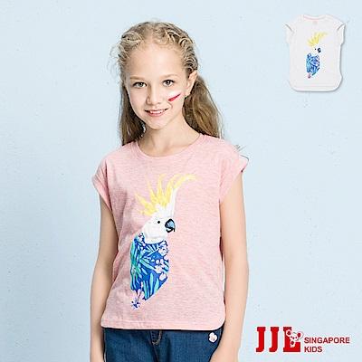 JJLKIDS 花漾鸚鵡印花圓領短袖上衣(2色)