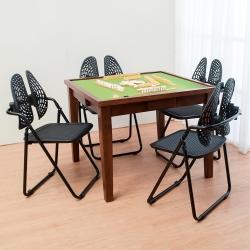 Bernice-伊凡實木麻將桌+德國專利雙背折疊椅組合(一桌四椅)-90x90x75cm