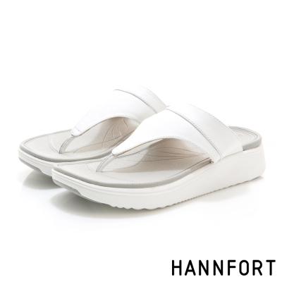 HANNFORT Ultra Comf 4D真皮T字拖鞋-女-時尚白