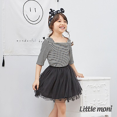 Little moni 優雅條紋五分袖上衣 (共3色)