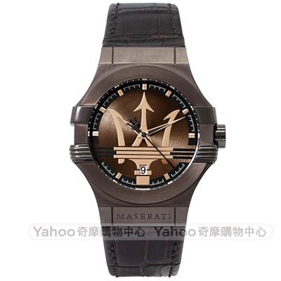 MASERATI 瑪莎拉蒂POTENZA動力三叉戟時尚手錶-咖啡/42mm