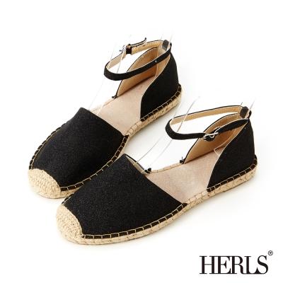 HERLS 清甜女孩 繞踝繫帶麻編鞋-黑色
