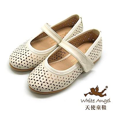 天使童鞋-JU841 日式圓花洞洞公主鞋-米