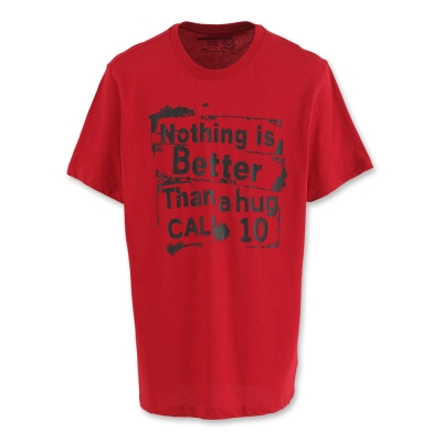 Hang Ten - 男裝 - 擁抱熱情印圖有機棉T-Shirt-紅