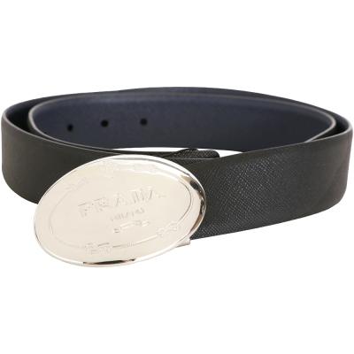 PRADA 金屬家徽圖騰防刮牛皮雙面用腰帶(黑x深藍)