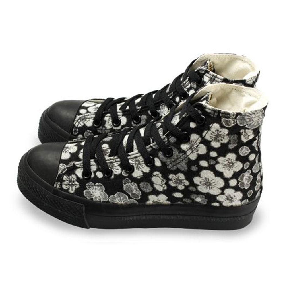 FUFA  MIT  古典花卉高筒帆布鞋  (T85) 黑花