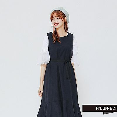 H:CONNECT 韓國品牌 女裝-亞麻無袖魚尾洋裝-深藍 - 動態show