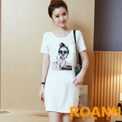 圓領人物膠印長版T恤 (共二色)-ROANN