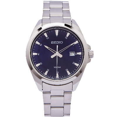 SEIKO 經典款男性手錶 (SUR207P1)-藍面X銀色/42mm