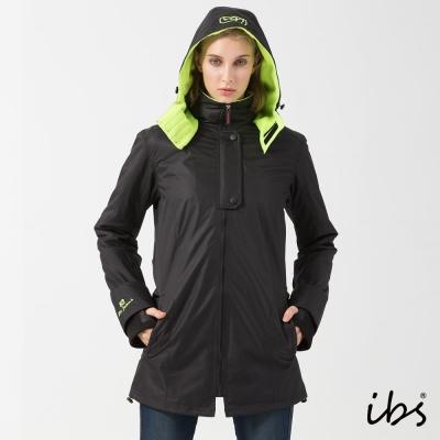 ibs時尚機能防風外套(黑/螢光-女)