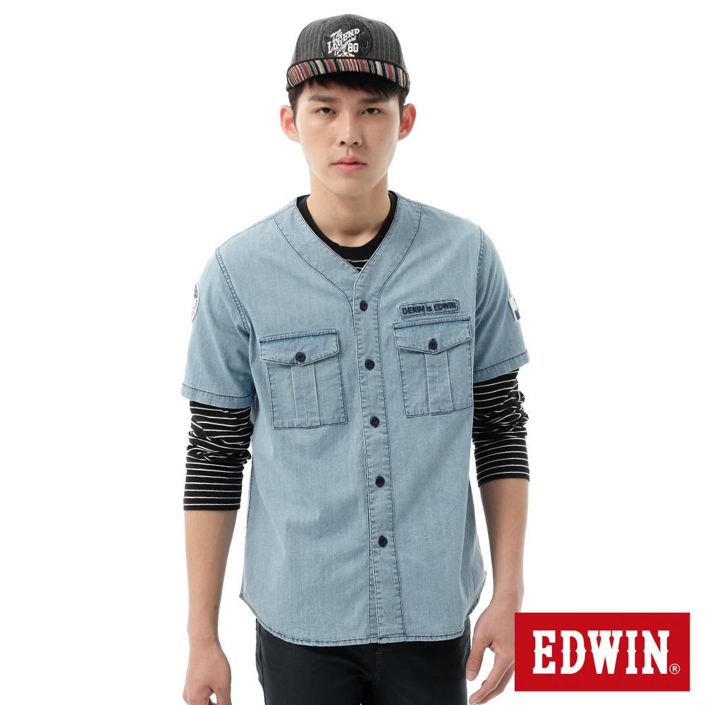 EDWIN  棒球裝造型短袖襯衫-男-石洗藍