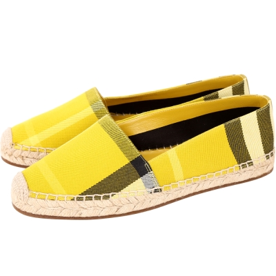 BURBERRY Canvas 經典格紋草編鞋(女鞋/黃色)