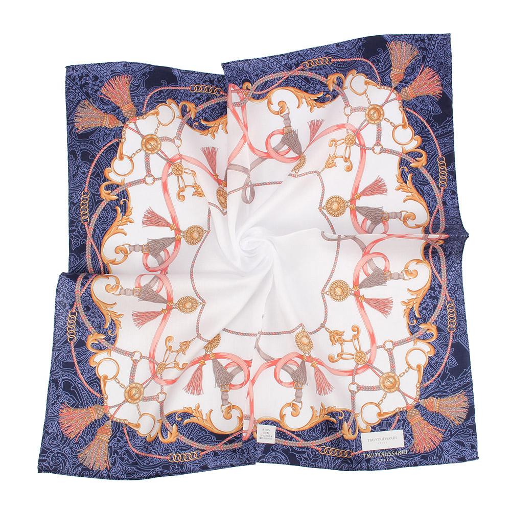 TRUSSARDI復古華麗流蘇繩索純棉領帕巾--深藍