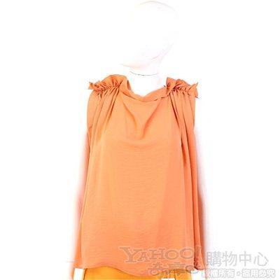 SEE BY CHLOE 粉橘色抓褶造型無袖上衣
