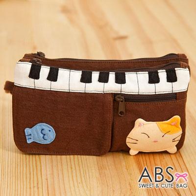 ABS貝斯貓 - 鋼琴貓咪拼布雙層拉鍊錢包 長夾88-176 - 咖啡