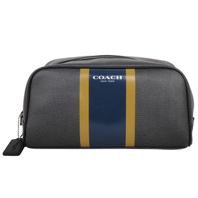 COACH-PVC皮革藍黃條紋萬用手拿包-化妝包