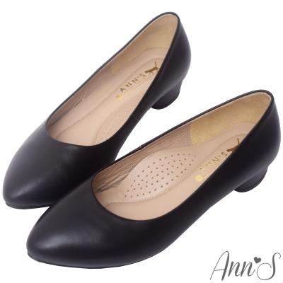 Ann'S最高實穿性-頂級小羊皮素面微尖頭低跟包鞋-黑