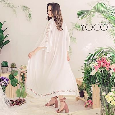 東京著衣-yoco 慵懶春氛純白繡花寬袖罩衫-S.M.L(共一色)
