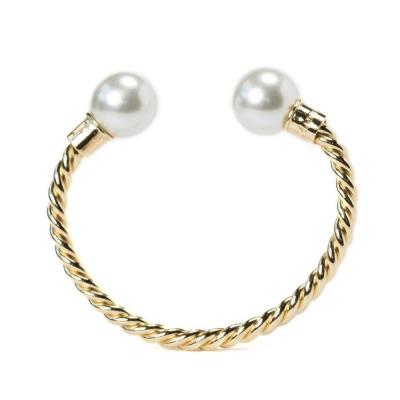 Kiel James Patrick 珍珠C型古銅金色手環