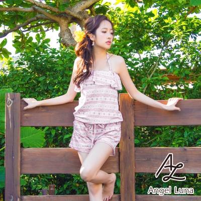 【Angel Luna日本泳裝】荷葉邊收腰連身褲三件式比基尼泳衣-圖騰粉