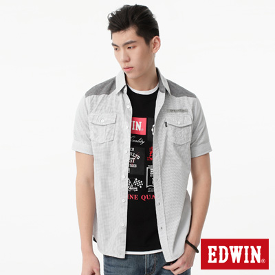 EDWIN 襯衫 剪接細格短袖襯衫-男-白色
