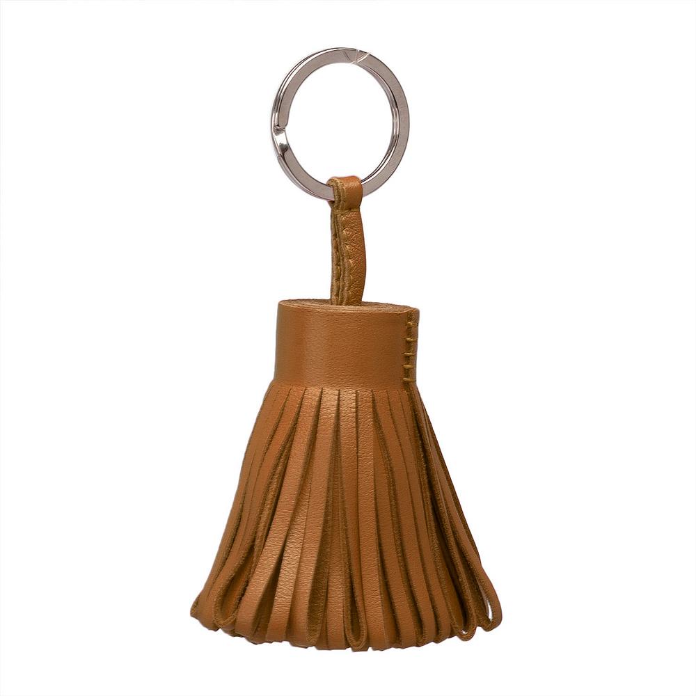HERMES 流蘇造形山羊皮鑰匙圈手袋吊飾(摩卡棕)