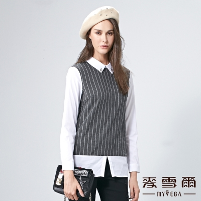 麥雪爾 銀飾襯衫領條紋假兩件上衣