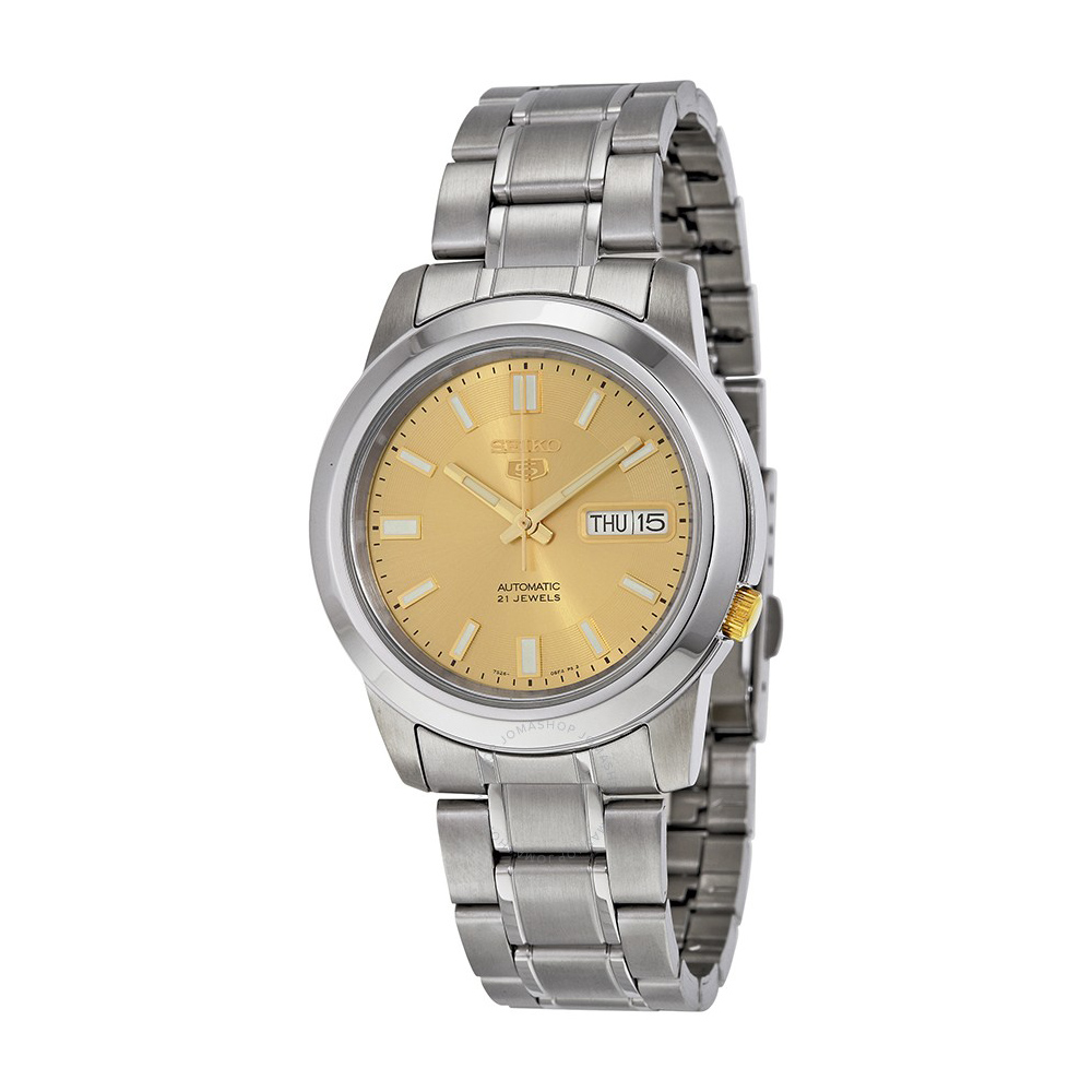 SEIKO 精工5號 Goldtone不鏽鋼男士手錶(SNKK13J1)-金/39mm