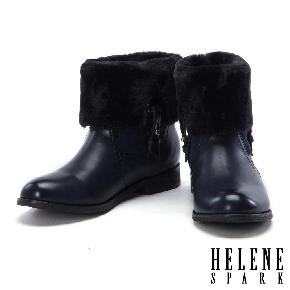 短靴 HELENE SPARK 簡約釦帶點綴獨特質感雙色皮革絨毛短靴-藍