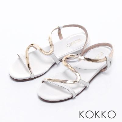 KOKKO經典手工 -優雅金屬S型曲線楔型涼鞋-  白
