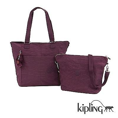 Kipling 斜背包 深紫素面-大