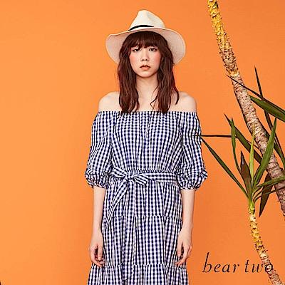 beartwo 休閒格紋縮腰綁帶長版洋裝(二色