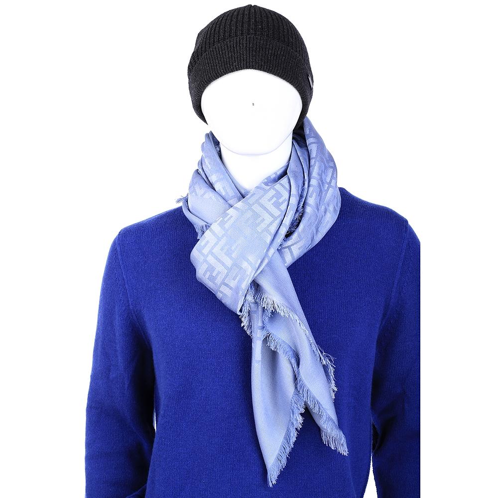 FENDI 水藍色絲質流蘇圍巾