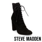 STEVE MADDEN-ELLEY-BLACK 綁帶粗高跟短靴-黑色