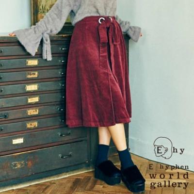 E hyphen 絨面側綁帶一片式長裙