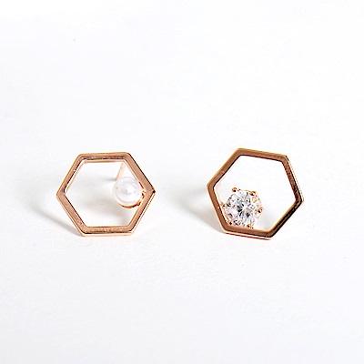 微醺禮物 正韓 鍍K金銀針 六角形 鏤空 一邊 水鑽 鋯石 耳針 耳環