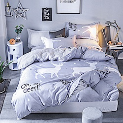 Ania Casa約定麋鹿 單人兩件式 柔絲絨美肌磨毛 台灣製 單人床包枕套兩件組