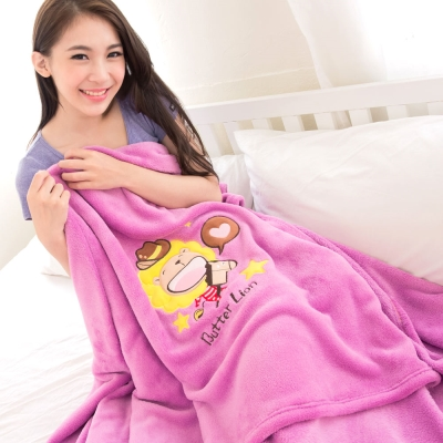奶油獅-台灣製造-羊羔絨超細纖維雙面隨意保暖毯-星星牛仔款-桃紫