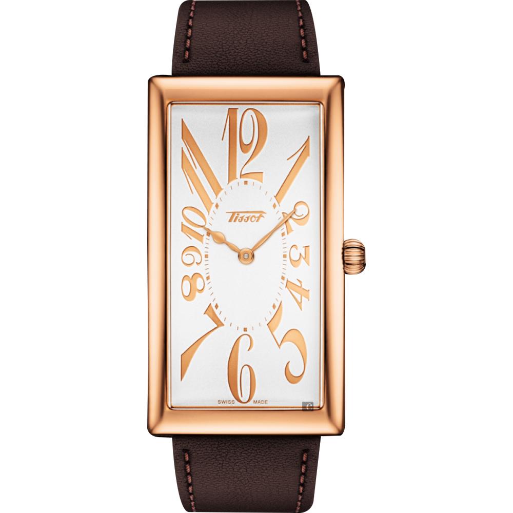 TISSOT天梭 Heritage Banana 100週年紀念錶-玫塊金框x咖啡色 @ Y!購物